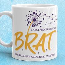 Mug featuring BRAT logo
